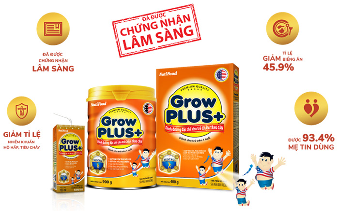 Sữa Grow Plus cam cho trẻ chậm tăng cân